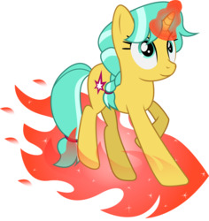 Size: 1555x1648 | Tagged: dead source, safe, artist:creativeli3, citrine spark, fire quacker, pony, friendship student, magic, simple background, solo, transparent background, vector