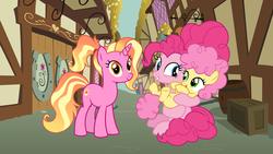 Size: 7111x4000 | Tagged: safe, artist:3d4d, li'l cheese, luster dawn, pinkie pie, pony, the last problem, foalsitter