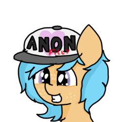 Size: 1440x1440 | Tagged: safe, artist:scotch, oc, oc:little league, pony, chest fluff, female, filly, freckles, hat, heart, smiling