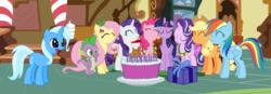 Size: 3704x1284 | Tagged: safe, artist:3d4d, applejack, fluttershy, pinkie pie, rainbow dash, rarity, spike, starlight glimmer, trixie, twilight sparkle, alicorn, cake, food, mane six, present, trixie day, twilight sparkle (alicorn)