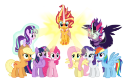 Size: 2500x1600 | Tagged: dead source, safe, artist:creativeli3, artist:djbit-3, applejack, fluttershy, pinkie pie, rainbow dash, rarity, starlight glimmer, sunset shimmer, twilight sparkle, alicorn, pony, equestria girls, daydream shimmer, equestria girls ponified, mane six, midnight sparkle, ponified, simple background, transparent background, twilight sparkle (alicorn)