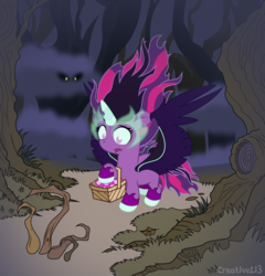 Size: 2084x2168 | Tagged: dead source, safe, artist:creativeli3, twilight sparkle, pony, equestria girls, basket, equestria girls ponified, female, filly, fog, hoof hold, little red riding hood, midnight sparkle, picnic basket, ponified, solo
