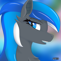 Size: 2160x2160 | Tagged: safe, artist:anthroponiessfm, oc, oc only, oc:diamond azure, bat pony, pony, bat pony oc, cute, explicit source, female, fluffy, high res, long hair, long mane, looking at you, mare, open mouth, signature, solo, tongue out