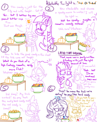 Size: 1280x1611 | Tagged: safe, artist:adorkabletwilightandfriends, moondancer, spike, starlight glimmer, twilight sparkle, alicorn, dragon, pony, unicorn, comic:adorkable twilight and friends, adorkable, adorkable twilight, candy, candy bowl, clothes, comic, couch, crying, cute, dork, eating, emotional, female, food, funny, glasses, glowing horn, halloween, holiday, horn, humor, magic, mare, movie, movie night, nightmare night, pumpkin, slice of life, spooky, sweater, telekinesis, tissue, trick, trick or treat, twilight sparkle (alicorn)