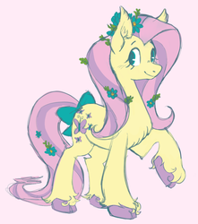 Size: 1039x1175 | Tagged: safe, artist:trinoids, fluttershy, earth pony, pony, alternate design, blushing, bow, chest fluff, cloven hooves, cute, ear fluff, earth pony fluttershy, female, flower, flower in hair, flower in tail, looking at you, looking sideways, mare, no pupils, pink background, raised hoof, shyabetes, simple background, smiling, solo, standing, tail bow, three quarter view, unshorn fetlocks, white background