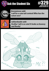Size: 800x1151 | Tagged: safe, artist:sintakhra, ocellus, changedling, changeling, tumblr:studentsix, bugs doing bug things, cute, cute bug noises, cute little fangs, descriptive noise, diaocelles, fangs, female, looking at you, post-it, solo, tail wag