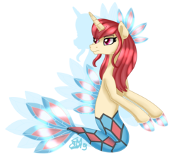 Size: 2149x1942 | Tagged: artist:spokenmind93, female, milotic, pokémon, safe, seaponified, sea pony, simple background, solo, species swap, transparent background