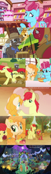 Size: 1280x4320 | Tagged: safe, edit, edited screencap, screencap, apple bloom, big macintosh, bright mac, burnt oak, cup cake, mayor mare, pear butter, earth pony, pony, going to seed, the perfect pear, adorabloom, apple, apple tree, barrel, brightabetes, brightbutter, cake, candle, colt, crying, cute, feels, female, filly, foal, food, hay bale, lantern, link in the description, little macintosh, lyrics, macabetes, male, mare, mare in the moon, marriage, moon, mouth hold, pear, pear tree, pearabetes, plow, ray henderson, sad, shipping, song reference, stallion, straight, sugarcube corner, sweet apple acres, text, that old gang of mine, tree, wedding, younger
