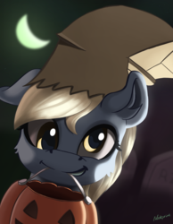 Size: 2611x3371 | Tagged: safe, artist:nookprint, derpy hooves, pegasus, pony, bag, clothes, costume, cute, derpabetes, female, halloween, holiday, mare, mouth hold, nightmare night costume, paper bag, paper bag wizard, pumpkin bucket, smiling, solo