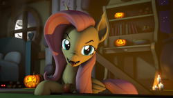 Size: 3840x2160 | Tagged: safe, artist:alicorntwilysparkle, fluttershy, bat pony, pegasus, pony, 3d, apple, bat ponified, candle, female, flutterbat, food, high res, looking at you, mare, moon, nightmare night, pumpkin, race swap, revamped ponies, solo, source filmmaker, tongue out