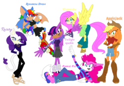 Size: 1024x714 | Tagged: anthro, applejack, artist:spqr21, bat, clothes, crossover, digitigrade anthro, fluttershy, flying, hat, hedgehog, mane six, pinkie pie, plantigrade anthro, rainbow dash, rarity, redraw, safe, sandals, simple background, sonic the hedgehog (series), transparent background, twilight sparkle