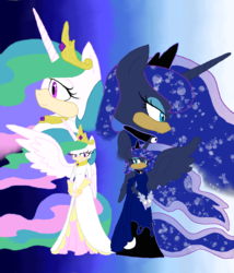 Size: 1024x1199 | Tagged: alicorn, anthro, artist:spqr21, clothes, crossover, dress, ethereal mane, female, gradient background, hedgehog, princess celestia, princess luna, safe, sonic the hedgehog, sonic the hedgehog (series), starry mane, zoom layer