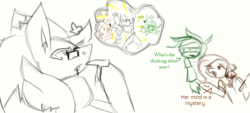 Size: 1223x555 | Tagged: anthro with ponies, artist:spqr21, clothes, crossover, dialogue, earth pony, female, glasses, iguana, lineart, mare, oc, oc:esperanza la iguana, oc:viridian studies, pokémon, pony, safe, shrug, sonic the hedgehog (series), thinking, zoroark