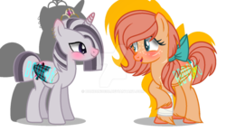 Size: 1170x683 | Tagged: safe, artist:bonbon9696, oc, oc:princess zace, oc:sweet apple, alicorn, hybrid, pegasus, pony, zony, base used, deviantart watermark, duo, female, interspecies offspring, magical lesbian spawn, mare, next generation, obtrusive watermark, offspring, parent:big macintosh, parent:fluttershy, parent:twilight sparkle, parent:zecora, parents:fluttermac, parents:twicora, simple background, watermark