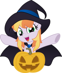 Size: 5000x5856 | Tagged: safe, artist:jhayarr23, copper top, earth pony, pony, alternate hairstyle, cape, clothes, costume, female, halloween, hat, holiday, mare, pumpkin, simple background, solo, transparent background, witch hat, ych result