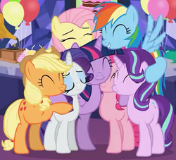 Size: 465x423 | Tagged: alicorn, applejack, applejack's hat, artist:agrol, balloon, cake, cowboy hat, cropped, cupcake, cute, daaaaaaaaaaaw, dashabetes, diapinkes, earth pony, eyes closed, female, fluttershy, food, glimmerbetes, gramophone, group, group hug, happy birthday mlp:fim, hat, hug, jackabetes, make it a surprise, mane six, mare, mlp fim's ninth anniversary, pegasus, pinkie pie, pony, rainbow dash, raribetes, rarity, safe, shyabetes, smiling, starlight glimmer, twiabetes, twilight sparkle, twilight sparkle (alicorn), unicorn