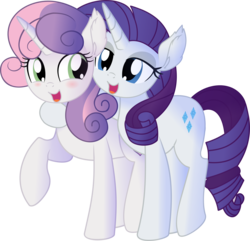 Size: 7264x7007   Tagged: safe, artist:cyanlightning, rarity, sweetie belle, pony, unicorn, growing up is hard to do, .svg available, absurd resolution, blushing, cute, diasweetes, duo, ear fluff, female, hug, lidded eyes, mare, older, older sweetie belle, raribetes, sibling love, siblings, simple background, sisterly love, sisters, transparent background, vector