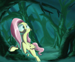 Size: 2400x2000 | Tagged: safe, artist:rocket-lawnchair, fluttershy, pegasus, pony, female, fog, forest, mare, mismatched eyes, scared, scenery, solo
