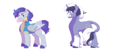 Size: 1280x512   Tagged: safe, artist:itstechtock, oc, oc only, oc:stargazer, oc:wind whip, pegasus, pony, unicorn, bubblegum, clothes, female, food, gum, magical lesbian spawn, male, mare, offspring, parent:rainbow dash, parent:soarin', parent:trixie, parent:twilight sparkle, parents:soarindash, parents:twixie, simple background, stallion, transparent background, uniform, wonderbolt trainee uniform