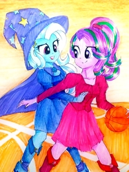 Size: 2320x3094   Tagged: safe, artist:liaaqila, starlight glimmer, trixie, equestria girls, ball, basketball, boots, cape, clothes, dress, fall formal outfits, hat, high heel boots, playing, shoes, sports, traditional art, trixie's cape, trixie's hat