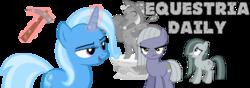 Size: 1000x350 | Tagged: safe, artist:luckreza8, limestone pie, marble pie, trixie, earth pony, pony, unicorn, equestria daily, banner, pickaxe, statue, trixie day