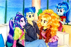Size: 2977x1954 | Tagged: safe, artist:liaaqila, adagio dazzle, aria blaze, flash sentry, sonata dusk, equestria girls, equestria girls series, find the magic, spoiler:eqg series (season 2), bedroom eyes, belt, blushing, clothes, commission, couch, dress, eyeshadow, feet, female, flash sentry gets all the dazzlings, flash sentry gets all the mares, flash sentry gets all the sirens, flash sentry gets all the waifus, flashagio, flasharia, food, headband, hoodie, imminent fffm foursome, imminent foursome, imminent group sex, imminent orgy, imminent sex, jacket, jeans, leather jacket, licking, licking lips, makeup, male, pants, pillow, plant, polyamory, senata, shipping, shirt, shorts, sitting, sonataco, spiked headband, straight, taco, taco dress, that girl sure loves tacos, the dazzlings, tongue out, traditional art