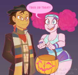Size: 5000x4816 | Tagged: safe, artist:liziedoodle, pinkie pie, oc, oc:copper plume, equestria girls, bucket, canon x oc, clothes, commission, commissioner:imperfectxiii, copperpie, costume, doctor who, equestria girls-ified, female, fourth doctor, fourth doctor's scarf, freckles, glasses, halloween, halloween costume, hat, holiday, looking at you, male, pinkie puffs, pumpkin bucket, scarf, shipping, shirt, shorts, smiling, straight, sweatband, tom baker, tom baker's scarf, trick or treat, wristband