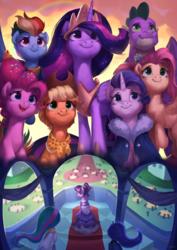 Size: 3508x4961   Tagged: safe, artist:luciferamon, applejack, fluttershy, pinkie pie, princess celestia, princess luna, rainbow dash, rarity, spike, twilight sparkle, alicorn, dragon, earth pony, pegasus, pony, unicorn, the last problem, cape, clothes, coronation, coronation dress, cowboy hat, dress, end of ponies, female, gigachad spike, hat, male, mane seven, mane six, mare, older, older applejack, older fluttershy, older mane six, older pinkie pie, older rainbow dash, older rarity, older spike, older twilight, princess twilight 2.0, royal sisters, scarf, twilight sparkle (alicorn), winged spike, wings