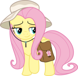 Size: 3046x3000 | Tagged: safe, artist:sollace, fluttershy, pegasus, pony, daring doubt, .svg available, cute, hat, raised hoof, saddle bag, shyabetes, simple background, smiling, solo, transparent background, vector