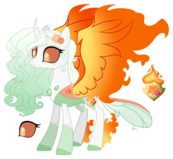 Size: 3160x2909 | Tagged: safe, artist:starling-sentry-yt, artist:teepew, oc, oc:sunrise bloom, changepony, hybrid, base used, female, interspecies offspring, offspring, parent:princess celestia, parent:thorax, parents:thoralestia, simple background, solo, transparent background