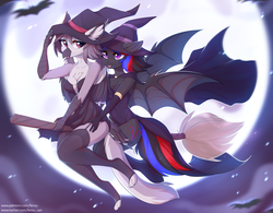 Size: 4957x3859 | Tagged: anthro, artist:fensu-san, bat pony, bat pony oc, bat wings, broom, clothes, costume, female, griffon, halloween, halloween costume, hat, holiday, moon, oc, oc:narcissa, oc:phase shift, pony, safe, wings, witch, witch hat