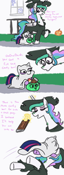 Size: 801x2200 | Tagged: safe, artist:jargon scott, princess celestia, twilight sparkle, alicorn, ghost, pony, attack, bedsheet ghost, candy, clothes, comic, costume, dialogue, eyes closed, female, food, halloween, halloween costume, hand, hat, holiday, jack-o-lantern, magic, magic hands, mare, now you fucked up, open mouth, pounce, pumpkin, pumpkin bucket, smiling, twiggie, u lil shid, wart, witch, witch hat