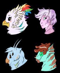 Size: 1280x1549 | Tagged: safe, artist:shimazun, oc, oc:gren, oc:quartz horn, oc:rainbow feather, oc:scales, alien, griffon, hippogriff, antennae, gills, interspecies offspring, magical lesbian spawn, multiple eyes, offspring, parent:gilda, parent:rainbow dash, parents:gildash, transformed