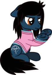 Size: 660x958 | Tagged: angry, artist:lightningbolt, body writing, bring me the horizon, clothes, derpibooru exclusive, earth pony, equestria girls ponified, floppy ears, lip piercing, long sleeves, looking down, male, oliver sykes, piercing, ponified, pony, raised hoof, safe, scar, shirt, simple background, sitting, solo, stallion, svg, .svg available, tattoo, transparent background, underhoof, undershirt, vector