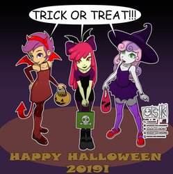 Size: 1997x2003 | Tagged: safe, artist:oldskullkid, apple bloom, scootaloo, sweetie belle, vampire, equestria girls, adorabloom, clothes, costume, cute, cutealoo, cutie mark crusaders, devil, devil horns, diasweetes, fangs, female, halloween, halloween costume, hat, holiday, pumpkin bucket, tail, trick or treat, trio, witch, witch hat