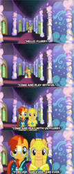 Size: 1024x2388 | Tagged: artist needed, safe, flash sentry, princess flurry heart, sunburst, pegasus, pony, unicorn, covering, creepy, frightened, funny, halloween, hallway, holiday, looking at you, lyrics in the description, movie parody, movie reference, nightmare night, parody, song reference, the grady girls, the shining, twins, uncanny valley, walking towards you, wing covering, youtube link