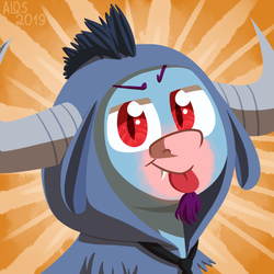 Size: 850x850 | Tagged: safe, artist:alittleofsomething, iron will, oc, oc:quick draw, minotaur, pony, vampire, vampony, clothes, costume, facial hair, fangs, goatee, kigurumi, makeup, male, necktie, solo, sunburst background, tongue out, ych result
