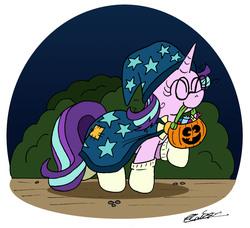 Size: 1644x1500 | Tagged: safe, artist:bobthedalek, starlight glimmer, pony, unicorn, bucket, cape, clothes, costume, cute, female, gameloft, glimmerbetes, halloween, halloween costume, hat, holiday, implied sunburst, jack-o-lantern, messy mane, nightmare night, pumpkin, pumpkin bucket, socks, solo, trick or treat, trotting, wizard hat