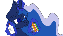 Size: 900x506 | Tagged: safe, artist:treble clefé, princess luna, alicorn, pony, two best sisters play, crayons, flowing mane, glue, hidden wings, levitation, magic, paste eating, puffy cheeks, solo, telekinesis