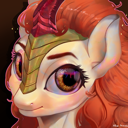 Size: 2000x2000 | Tagged: safe, artist:alex_bermuda, autumn blaze, kirin, pony, awwtumn blaze, bust, cute, female, high res, looking at you, mare, portrait, signature, smiling, solo, wide eyes, ych example, your character here