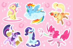 Size: 1200x800 | Tagged: safe, artist:mamath, applejack, fluttershy, pinkie pie, rainbow dash, rarity, twilight sparkle, butterfly, earth pony, pegasus, pony, unicorn, apple, book, butterfly on nose, cloud, end of ponies, female, food, glasses rarity, hat, hatless, horseshoes, inkwell, insect on nose, mane six, mare, missing accessory, on a cloud, party horn, pink background, quill, simple background, unicorn twilight