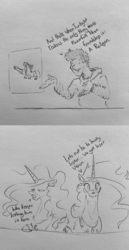 Size: 2048x3969 | Tagged: alicorn, artist:greyscaleart, comic, dialogue, drawing within a drawing, female, human, human male, male, mare, monochrome, oc, oc:human grey, pencil drawing, pony, princess celestia, princess luna, railgun, royal sisters, safe, traditional art, twilight sparkle, weapon