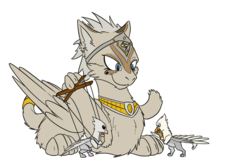 Size: 1851x1234 | Tagged: safe, artist:theandymac, artist:tinibirb, color edit, edit, oc, oc only, oc:der, griffon, sphinx, colored, jewelry, micro, puppet, sketch