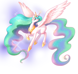 Size: 1405x1334   Tagged: safe, artist:b.w., princess celestia, alicorn, pony, crown, curved horn, cute, cutelestia, female, hoof shoes, horn, jewelry, mare, missing cutie mark, peytral, pixiv, regal, regalia, solo, spread wings, wings