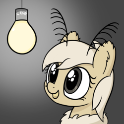 Size: 4000x4000 | Tagged: artist:czu, gradient background, lamp, lämp, light bulb, moth, mothpony, oc, oc only, original species, safe, solo