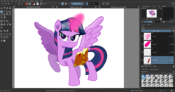 Size: 1920x1008 | Tagged: alicorn, artist:n3ro 182, aura, book, female, glowing horn, horn, krita, lifted hoof, magic, movie accurate, pony, safe, smiling, solo, twilight sparkle, twilight sparkle (alicorn), wip