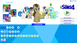 Size: 1920x1080 | Tagged: background six, bon bon, derpy hooves, dj pon-3, doctor whooves, lyra heartstrings, octavia melody, safe, spanish, sweetie drops, the sims, the sims 4, time turner, vinyl scratch