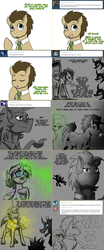 Size: 1562x3758 | Tagged: safe, artist:jitterbugjive, derpy hooves, doctor whooves, time turner, changeling, pony, lovestruck derpy, blushing, disguise, disguised changeling