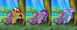 Size: 1419x563   Tagged: safe, artist:burning-heart-brony, spike, starlight glimmer, sunset shimmer, trixie, dragon, pony, unicorn, female, interspecies, kiss on the lips, kissing, male, mare, shipping, sparlight, spike gets all the mares, spixie, straight, sunsetspike, tree