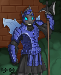 Size: 2878x3508 | Tagged: advertisement, anthro, armor, artist:empressbridle, blushing, changeling, changeling oc, commission, looking at you, oc, oc:captain black lotus, oc only, safe, solo